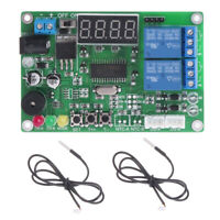 -45℃~125℃ 5-24V 2-CH Digital Temperature Difference Controller Relay & 2 Sensors