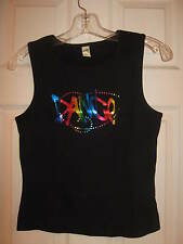 """NEW Fun Black tank dance top - colorful  """"DANCE"""" Size adult large from Kavio!"""