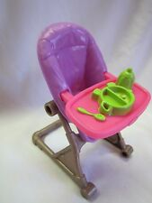 "New FISHER PRICE Loving Family Dollhouse PURPLE HIGHCHAIR HIGH CHAIR 2.5"" BABY"