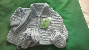 Hand-knitted  Baby's  blue matinee coat set  size 0/3months