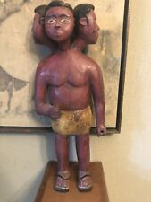 Rare African 3-Headed Carved Wood Male Figure Nigeria 19th Century!