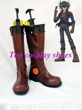 Yu-Gi-Oh! Yusei Fudo Marufujiryo Brown Cosplay Boots Shoes Custom-made