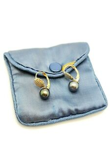 14K Yellow Gold Black 7.7mm Natural Pearl Hook Earring