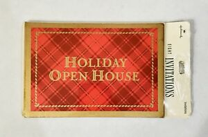 New Unopened Vintage Hallmark Red Plaid Gold Holiday Open House Invitations