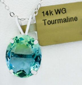 TOURMALINE  5.76 Cts  PENDANT NECKLACE 14k WHITE GOLD * New With Tag *