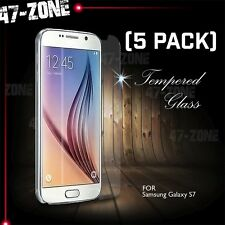 For Samsung Galaxy S7 Premium HD Clear Tempered Glass Screen Protector 5 PC