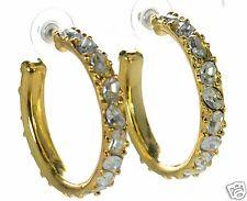 Kenneth J Lane Gold-tone Crystal Hoop Earrings