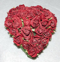 Red Tissue Roses Heart Green Leaf Base Valentines Home Decor Holiday Anniversary