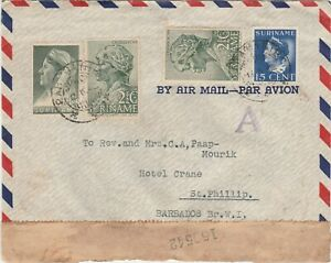 Surinam 1942 censored airmail cover to St. Philip Barbados ..