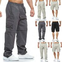 Mens 3 in 1 Elasticated Waist Cargo Combat Trousers Lightweight Pants Shorts New