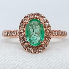 Genuine 1.15ctw Columbian Emerald & H-SI Diamond Solid 10K Rose Gold Ring Size 6