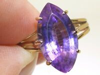 VINTAGE 9CT 9 CARAT YELLOW  GOLD SINGLE STONE MARQUISE AMETHYST RING SIZE M 1/2