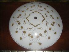Mid Century Modern Ceiling Light Shade White Gold Trim Retro 14-7/8