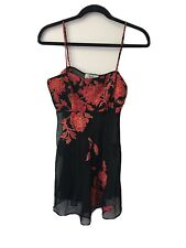 Victorias Secret Collection Red Asian Floral Black Chiffon Babydoll Nighty Small