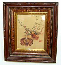 Antique Eastlake Victorian Deep Wood Picture Frame Faux Tortoise Gilt Glass