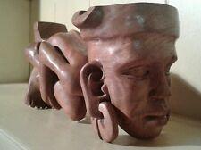 Tubo de africana Vintage Madera Labrada Soporte Y Cenicero Figura