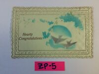 Hearty Congratulations Blue Flowers Embossed OLD Vintage Postcard ZP-5