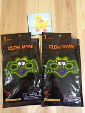 GLOW IN THE DARK MASK Lot of 2 Smiling Bat Halloween Costume Accessory