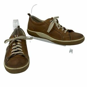 Ecco Leather Golf Sneakers Men's Size 41 Brown Lace Up Athletic Waterproof Hydro