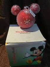 Disney Parks Red Snowflake Mickey Ears Blown Glass Christmas Large Ornament 5""