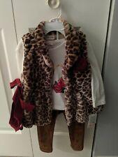 Toddler Girl Little Lass Pink 3pcs Leopard Fur Vest Set Fall Outerwear, 3T