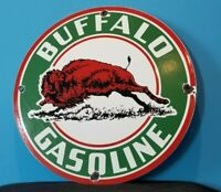 VINTAGE BUFFALO GASOLINE PORCELAIN GAS SERVICE STATION PUMP PLATE SIGN