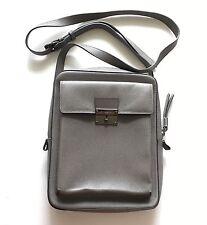 $1250 BURBERRY Shaldon Grey Silver Saffiano Calf Leather Zip Messenger Crossbody