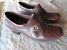 7M Clark's Bendables Wish Trance brown leather slip-on loafers pump shoe oxfords