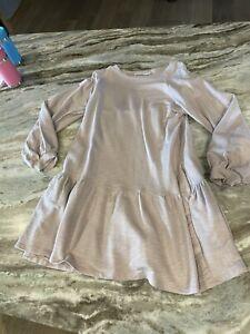 NWR Lush Women Size SMALL Light Pink Long Sleeves Pockets Short Dress
