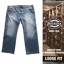 Dickies Men Denim Jeans 50W 34L Straight Leg Loose Fit Blue Relaxed Fit Pant NEW