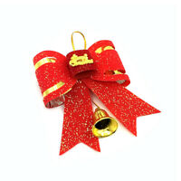 Best Christmas Tree Decoration Bow Christmas Ornaments Knot Flowers with bell*HF
