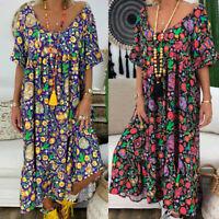 Plus Size Summer Womens Casual Loose Kaftan Short Sleeve Baggy Maxi Dress S-5XL