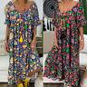 New Summer Womens Casual Loose Kaftan Short Sleeve Baggy Maxi Dress Size S-5XL