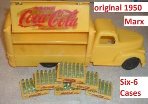 1950's Vintage Toy Marx Coca Cola Toy Coke Truck & 6 Coke Advertising Old Cases