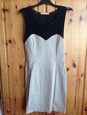 Woman's Beige/black Dress 12 Select Net Neck Line & Net Scooped Back New