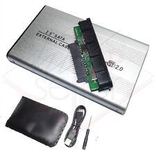 """BOX CASE SLIM ESTERNO HARD DISK 2,5"""" SATA HD HDD USB 2.0 CAVO ADATTATORE DRIVE"""