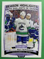 2019-20 O-Pee-Chee Season Highlights #594 Elias Pettersson Vancouver Canucks