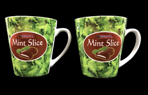 ARNOTT'S MINT SLICE | 2 Collectable Ceramic Mugs Cups | Wrap Around Print | EC