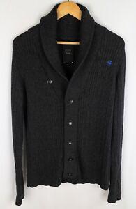 G-Star Raw Denim Eastville Shawl Men Jumper Cardigan Button Front Grey size M