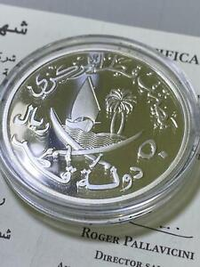 Qatar Central Bank 50 Riyals 2006 Silver Proof Commiserative coin - Uncirculated