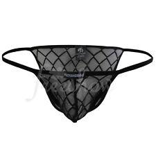 Men's Sheer Mesh Thongs Tanga Bikini Briefs String Underwear Swimwear Shorts