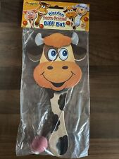 Wooden Cow Farm Animal Biff Paddle Bat And Ball Game Pocket Money Toy