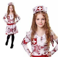 Girls Zombie Nurse Costume + Hat Headpiece Kids Halloween Fancy Dress Outfit