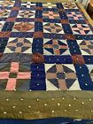 Antique+Vintage+Handmade+Hand+Tied+Night+%26+Day+Wool+Quilt+70x83+twin+%23139