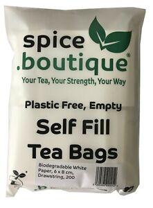 spice.boutique BIODEGRADABLE White Paper, Empty, PLASTIC FREE Self Fill Tea Bags