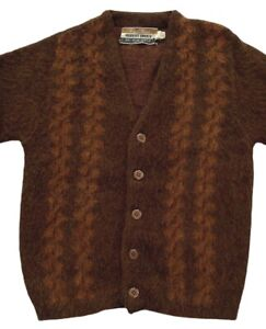 Vintage 1950s 60s Robert Bruce Cardigan Brown Fuzzy Paul Mage Sweater Boys sz 8