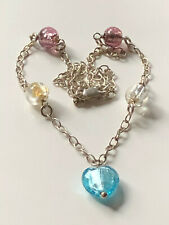 Sterling silver 925 necklace & coloured glass heart beaded detail trophy 10.46g