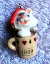 "Hallmark Collector's Club Ornament-""Sitting Purrty"" 1989 Miniature-Kitten"