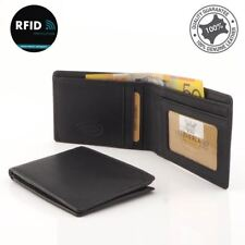 Men's Small Slim Wallet Genuine Soft Leather RFID Blocking 4 Cards Black