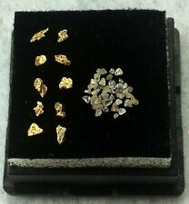NATURAL ALASKAN GOLD NUGGETS AND DIAMOND CHIP LOT.  GENUINE!!   L60